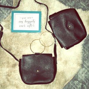 Handbags - NWT Black and gold 2 in 1 clutch/crossbody bag